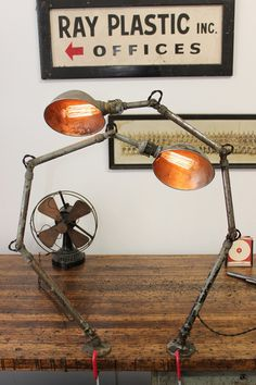 Dorset Finds Store — Ajusco Pair of Lamps w/ Cast Iron Mounting Bases, ca. 1940s