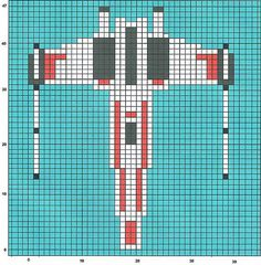 It says perler bead, but I can use it for cross stitch. Star Wars X-Wing perler bead pattern Pearler Bead Patterns, Perler Patterns, Loom Patterns, Star Wars Crochet, Crochet Stars, Cross Stitching, Cross Stitch Embroidery, Cross Stitch Patterns, Perler Beads