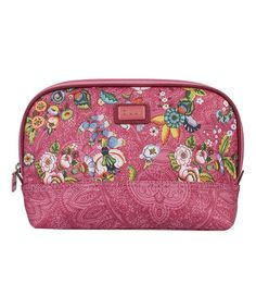 Pink French Flowers Medium Curved Cosmetic Bag by Oilily #zulily #zulilyfinds