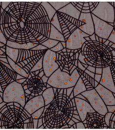 Halloween Fabric-Fabric-Flocked Web Orange Duccos