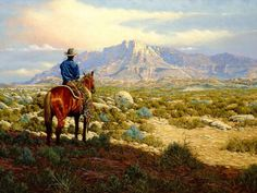 """~Watchin' the Move~ """"Texas has just one mountain but it's a grand mountain. I painted this on location at Guadelupe Peak, 8751 ft. high. Note of interest: The first cattle drive from the state of Texas went right past here on the way to the gold fields of California.  - Kenneth Wyatt """""""