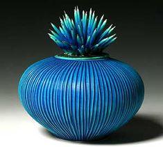 'Blue Urchin Vessel' - by Natalie Blake l porcelain.