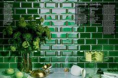 Existing tiles in the kitchen-Emerald Beveled Subway Tile. Green Subway Tile, Beveled Subway Tile, Green Tiles, Beadboard Backsplash, Subway Tile Backsplash, Quartz Backsplash, Black Backsplash, Mirror Backsplash, Herringbone Backsplash