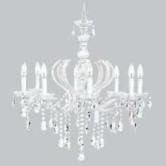 Pageant Chandelier - 8 Light Beaded with Glass Center - White, The Pendant Light is the adaptor for any Jubilee Large or XL Shades