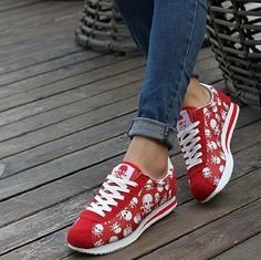 spring summer luxury brand women casual shoes,light originality skull heads print Cortez Hip hop woman flat shoes - Skull Clothing and Accessories - 3
