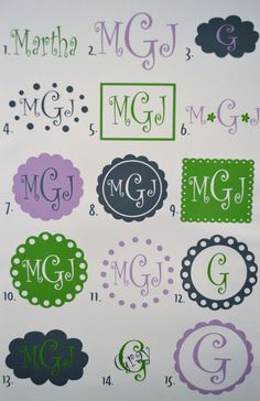 Personalized Monogram Vinyl Car Decal Sticker - Curlz Font. $10.00, via Etsy.