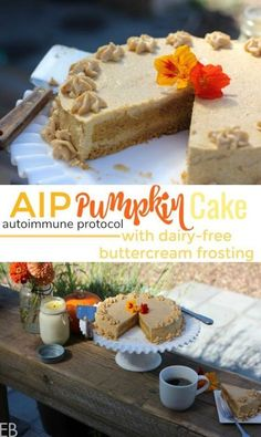 """AIP Pumpkin Layer Cake AIP Pumpkin Cake {dairy-free, nut-free, egg-free} with AMAZING """"buttercream"""" frosting! (SO excited to finally have a great AIP cake and frosting recipe! Paleo Dessert, Gluten Free Desserts, Dessert Recipes, Vegan Desserts, Healthier Desserts, Healthy Sweets, Dairy Free Buttercream, Buttercream Frosting, Cobbler"""