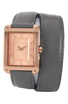 Vince Camuto Double Wrap Leather Strap Watch