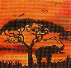 Amanda Lawford # African Sunset 18 mesh 5 x 5 Handpainted Needlepoint Canvas Threads Sold Separately Cross Stitch Art, Cross Stitch Borders, Cross Stitch Animals, Cross Stitching, Cross Stitch Embroidery, Cross Stitch Patterns, Needlepoint Designs, Needlepoint Kits, Needlepoint Canvases