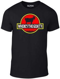 Reality Glitch Men's Where's The Goat T-Shirt Glitch, Slogan, Cool T Shirts, Goats, Awesome, Cotton, Mens Tops, Fashion, Moda