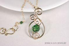 Gold Green Swarovski Crystal Necklace Wire by JessicaLuuJewelry