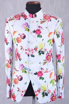 Buy Off White & Multicolor Raw Silk Printed Jodhpuri Suit Online Samyakk Bangalore Indian Wedding Suits Men, Indian Groom Wear, Wedding Dress Men, Wedding Tops, Indian Wear, Indian Men Fashion, Mens Fashion Wear, Suit Fashion, African Fashion