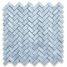 Carrara White Italian Carrera Marble Herringbone Mosaic Tile 5/8 x 1 1/4 Honed - Amazon.com