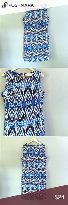 """Bright Abstract Dress H1 Bright Abstract Dress // sz 14 // Ronni Nicole brand // 97% polyester, 3% spandex // back zip // colors are blue, black, white // flattering darting at bust // super extremely soft and stretchy! Very flattering and conforming to shape! // one minor snag. Not noticeable // 21"""" across armpits // 17.5"""" waist laid flat / 19.5"""" hips laid flat / 39"""" length / not my size. can't model! // Same Day or Next Day Shipping!! 10.9.42  / 4.5.24 10.9o // Bundle Discounts // ronni…"""