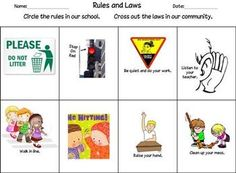 This worksheet had students distinguish between school rules and community laws. Choose color or black and white. Student Teaching, Teaching Ideas, Rules And Laws, Phonics Reading, Unit Plan, Distinguish Between, Teacher Resources, Social Studies, Worksheets