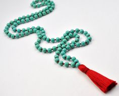 Turquoise and Red Silk Mala Beads Chalk by BuzzMeditations on Etsy, $80.00