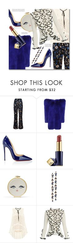 """""""Lace Sequinned Trousers'"""" by dianefantasy ❤ liked on Polyvore featuring self-portrait, Yves Saint Laurent, Christian Louboutin, Estée Lauder, Erin Fetherston, Adia Kibur, Erdem and Alexander McQueen"""
