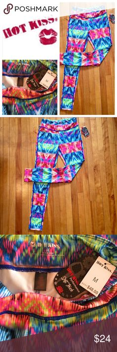 """Hot Kiss multicolor full length leggings NWT M Brand new with tags, perfect condition! Bright colorful full length running tights / yoga pants by Hot Kiss Clothing (""""for Runners, Spinners, Dancers & Winners""""). Size Medium. 37"""" long. 88% poly/12% spandex. Small zip pocket in back. Hot Kiss Clothing Pants"""