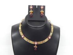 Indian Bollywood Handcrafted Polki Fashion Jewellery Necklace With Earrings Set #Handmade