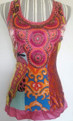 HALE BOB CABANA SILK SLEEVELESS TOP BOHO GYPSY EXOTIC PRINT TRIBAL BEADED XS S #HaleBob #TankCami #EveningOccasion