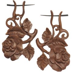 Organic Sabo Wood Rose Hand Carved Hanger Earrings | Body Candy Body Jewelry