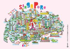 CREATIVE©ITIES invited 10 City Illustrators to create a graphical ©MAP of each city. This is Singapore by Mindflyer!