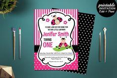 Printable Girls Ladybug Birthday Party Invitation Template. Ladybug Birthday Invitation. Girls 1st Birthday Invitation. Ladybug Party by HandmadeIncredible on Etsy