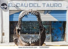 ARBOS,SPAIN-AUGUST 22,2015: Big teeth of a shark in front museum El Cau del Tauro, only museum in Europe dedicated to the world of shark, Arbos, province Tarragona,Catalonia.