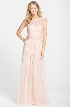 Free shipping and returns on Amsale Lace & Tulle Cap Sleeve Gown at Nordstrom.com. Lovely lace styles the fluttering cap sleeves, illusion neckline and bodice overlay of this stunning tulle gown that flatters almost any figure with its ruched waist and pleated, floor-sweeping skirt. A deep V-back makes a captivating finish.