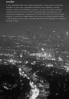 sonder: the realization that each random passerby is living a life as vivid and complex as your own-populated with their own ambitions, friends, routines, worries & inherited craziness-an epic story that continues invisibly around you like an anthill sprawling deep underground, with elaborate passageways to thousands of other lives that you'll never know existed...