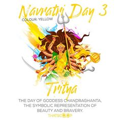 #Navratri #Quotes #Facts #Day3 #Yellow www.thatscoop.com Navratri Wishes Images, Happy Navratri Wishes, Happy Navratri Images, Festivals Of India, Indian Festivals, Durga Maa, Durga Goddess, Navratri Quotes, Navratri Greetings