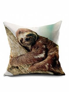Smile Sloth Bedroom Decorative Throw Pillow Case - BROWN
