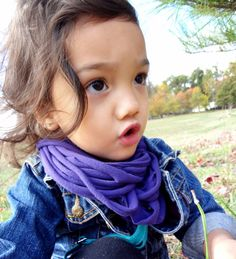 DIY: t-shirt scarf baby style. Made an infinity fringe for Layla.