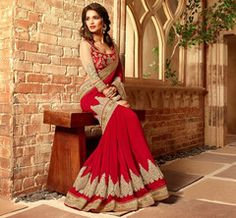 Red Color Georgette Designer Festival & Function Wear Sarees : Mirali Collection  YF-40670