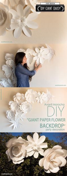 "DIY "" Giant Paper Flower Backdrop"" paper decor and flowers , paper backdrops with video tutorials! The best inclusive diy wedding planning information, inspiration . Giant Paper Flowers, Diy Flowers, Paper Flowers Wall Decor, Metal Flowers, Paper Roses, Paper Art, Paper Crafts, Diy Crafts, Paper Book"