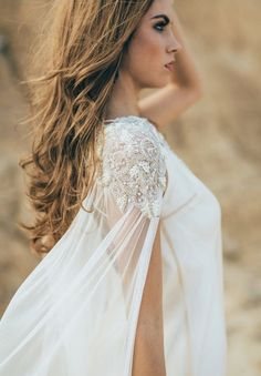 From hair chains to metallic temporary tattoos to shoulder jewelry, here are five trendy bridal accessories for 2015 found on Etsy! Wedding Cape Veil, Bridal Cape, Wedding Gowns, Wedding Fair, Wedding Bride, Bridal Dresses, Lace Wedding, Bridal Looks, Bridal Style