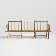 Lot 25: Edward Wormley. Rare bench, model 4871. 1948, walnut, cherry, Henning Watterston upholstery, leather. 87 w × 25 d × 34¼ h in. result: $35,000. estimate: $20,000–30,000. Provenance: Phillips, New York, Design, 15 June 2012, Lot 96 | Private collection