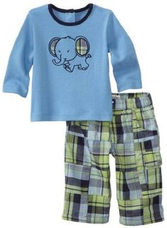 ShopStyle: Kitestrings Baby-boys Newborn Interlock Top And Patchwork Plaid Pant Two Piece Set