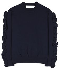 Victoria Victoria Beckham - Ruffled sweater - Give your knitwear edit a darling update courtesy of Victoria Victoria Beckham. Crafted in navy, the cosy design comes complete with ruffled detailing to the sleeves for a feminine finish. Team yours with a pencil skirt for a contemporary, ladylike look. seen @ www.mytheresa.com