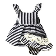 Baby Girl Clothes Brand Newborn Sleeveless Stripe Belt + Lace Shorts 1 Year  Birthday Infant Clothing. Cute ... 091081b6fe1b