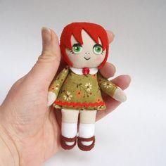 Rag Doll Patterns To Print | rag doll, handmade rag doll, red-haired doll, green eyes, green dress