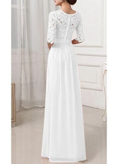 Half Sleeve Lace Patchwork White Maxi Dress