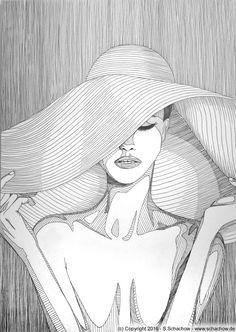 Tusche-Zeichnung einer Frau mit Hut. Hier gibt es das Video und die Zeichnung. Jetzt anschauen !