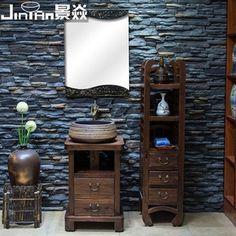 浴室柜组合卫生间台盆柜落地中式浴柜复古洗手台洗手池柜G-A03-6