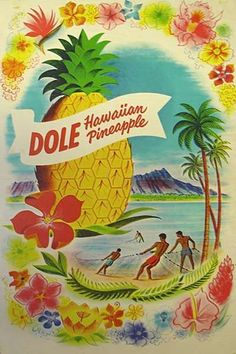 🌟Tante S!fr@ loves this📌🌟Vintage Dole Pineapple Poster (hawaiiana. Hawaii Vintage, Vintage Tiki, Vintage Hawaiian, Vintage Ads, Pineapple Vintage, Vintage Market, Etsy Vintage, Voyage Hawaii, Dole Pineapple