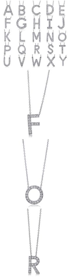 Sterling Silver CZ Initial Letter Fashion Necklace