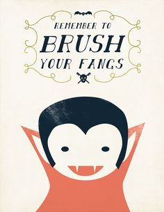 VampireBoy Halloween Art Brush Your Fangs by ShopAmySullivan