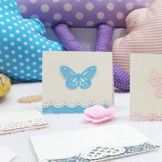 I love love love butterflies! An I love love love Martha Stewart's Doily Lace Edge Punch. And I love love love notecards, bookmarks and the like! So here's a not so throwback throwback …