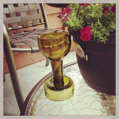 Repurposed wine bottle