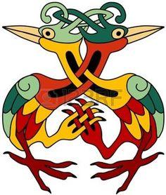 celtique: Hérons celtiques ornementales Illustration